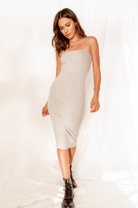 Good To You Grey Ribbed Midi Dress