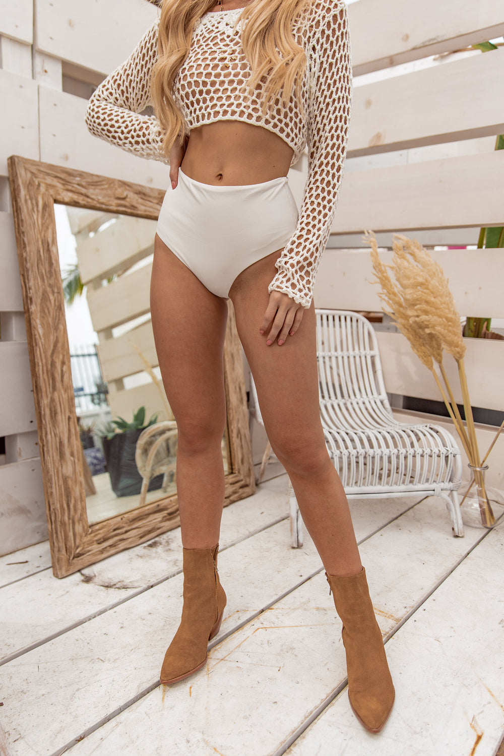Dare Me White High Rise Undies / Swimsuit