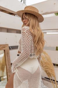 Feel the Beat Fishnet Long Sleeve Top
