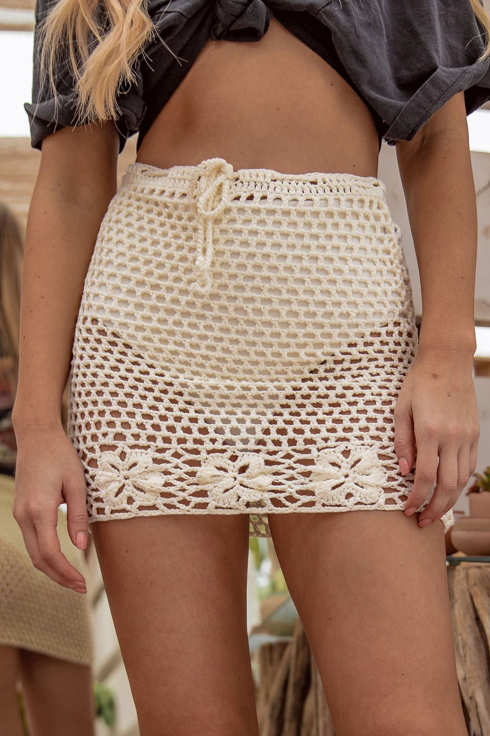 Carried Away Ivory Crochet Skirt