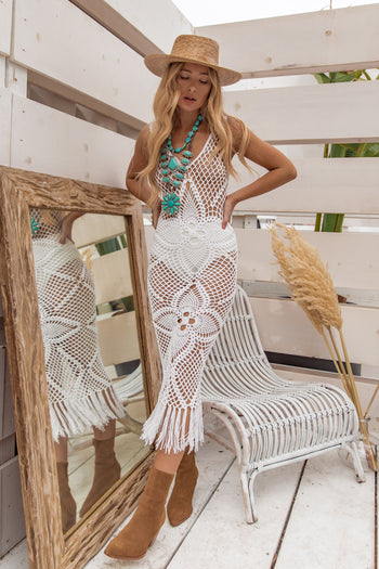 Here and Now White Crochet Coverup