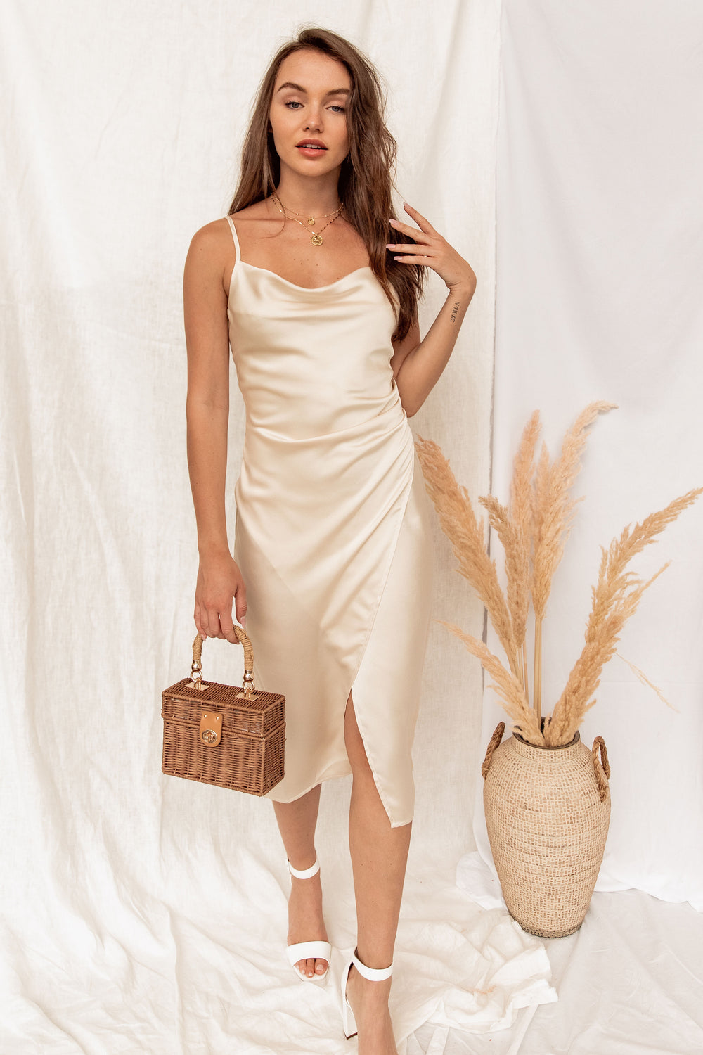 Downtown Champagne Slip Dress
