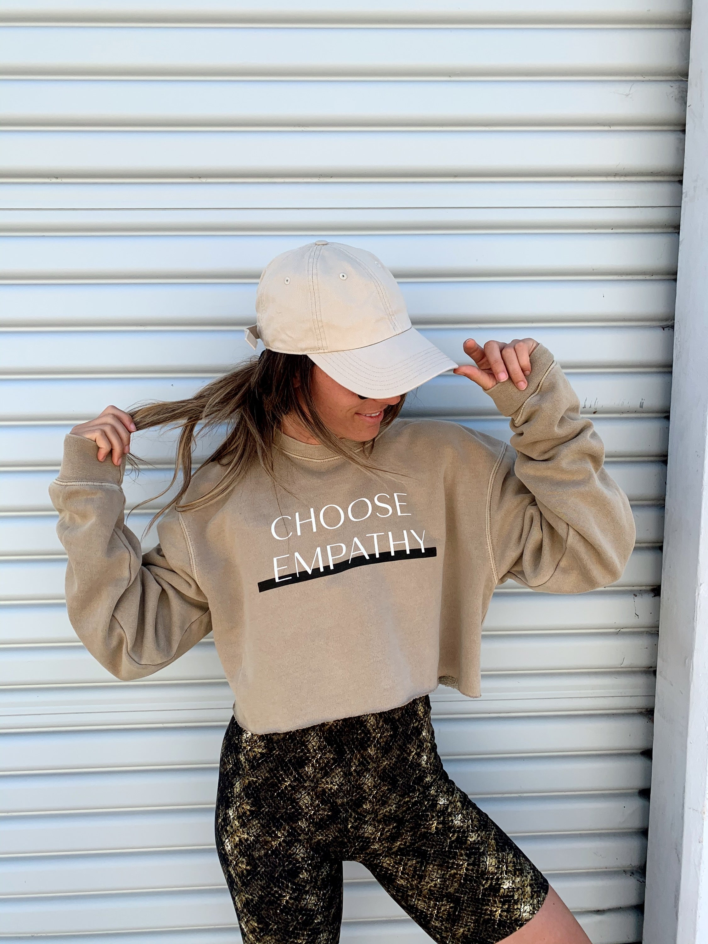 Choose Empathy Tan Cropped Sweatshirt
