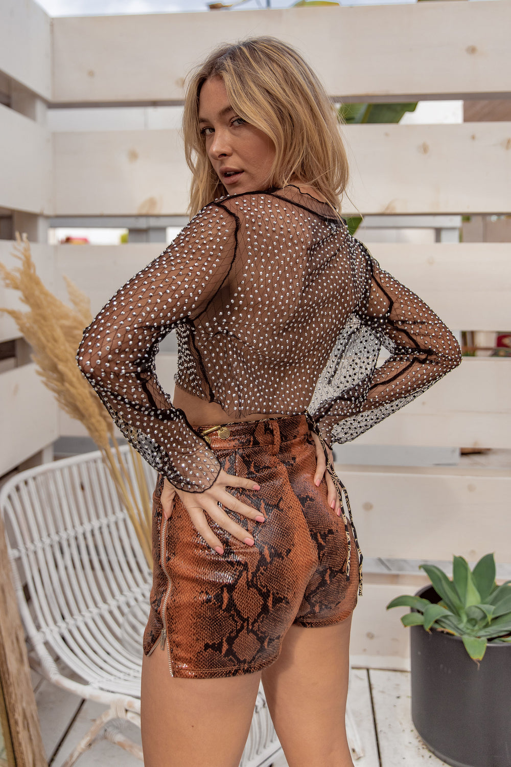 Exit Stage Left Mesh Jeweled Top