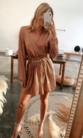 Dancing In The Streets Bronze Metallic Dress
