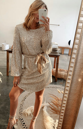 Your Tempo Silver Sequin Dress