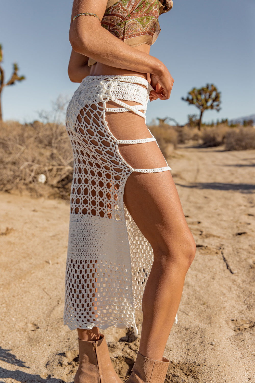 Walk Free White Crochet Skirt