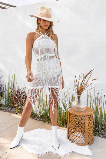 All Night Long White Fringe Dress
