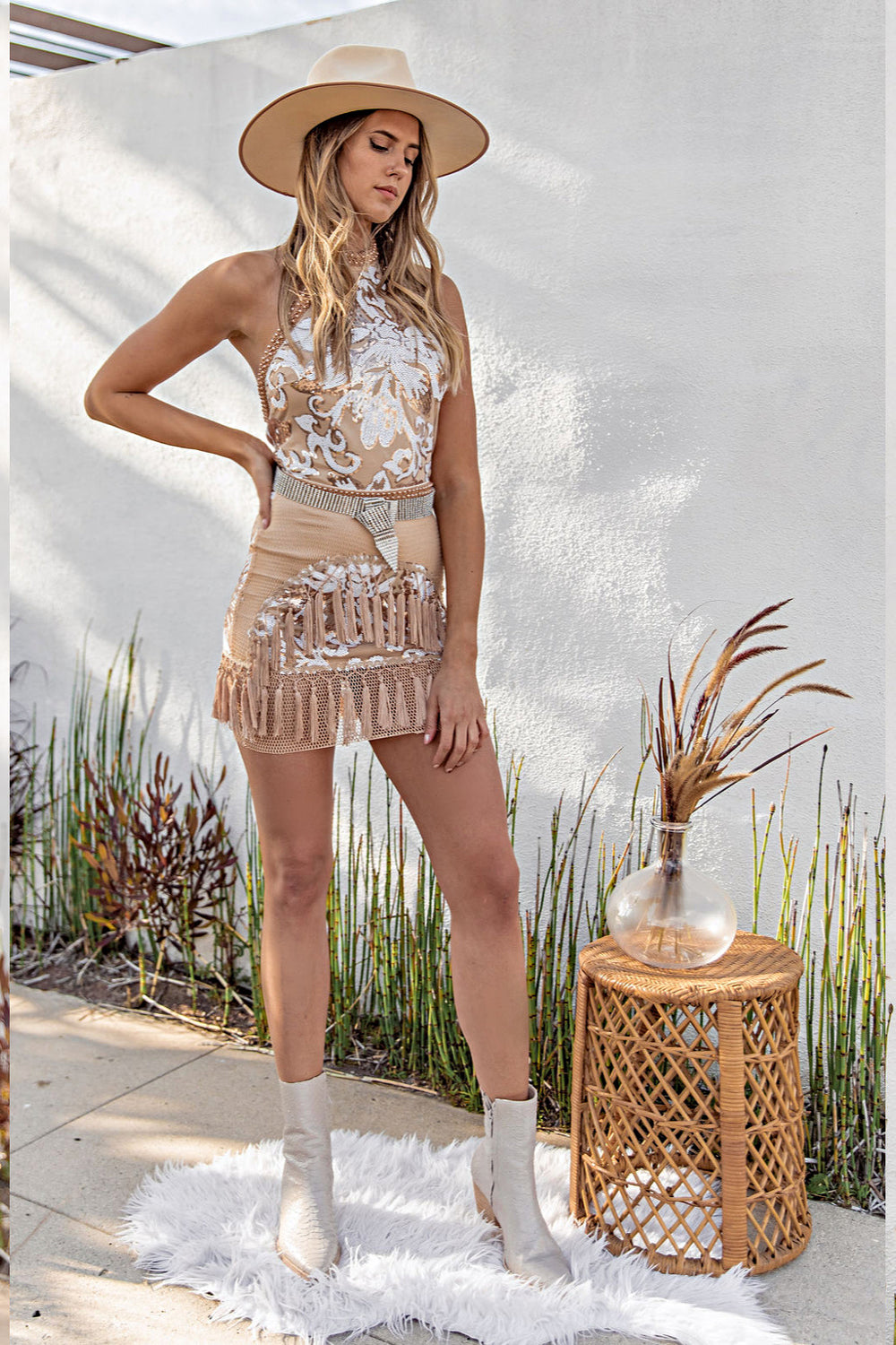 Like Gold Dust Nude Sequin Fringe Dress