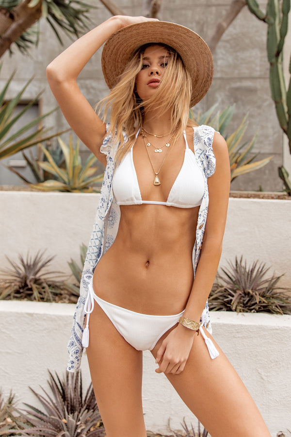 Grace Bay White Ribbed Bikini Bottom