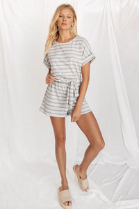 Until Next Time Grey Striped Romper
