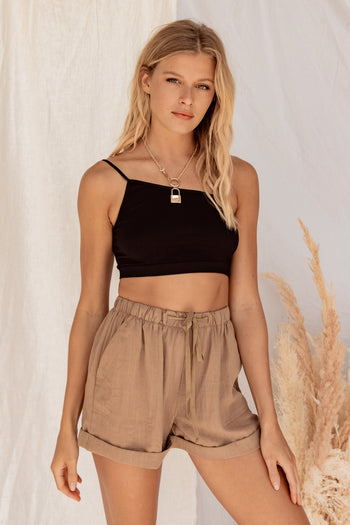 Elsie Black One Shoulder Cami