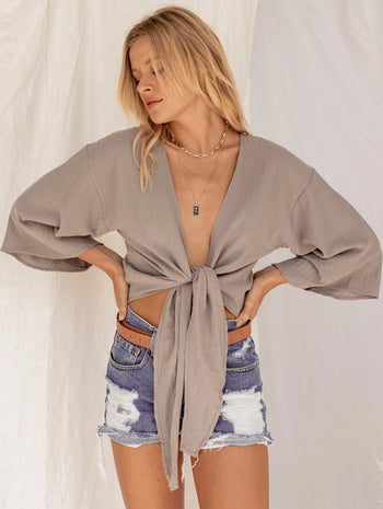Eiffel Tower Grey Wrap Top