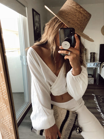Monica Bubble Sleeve White Crop Top