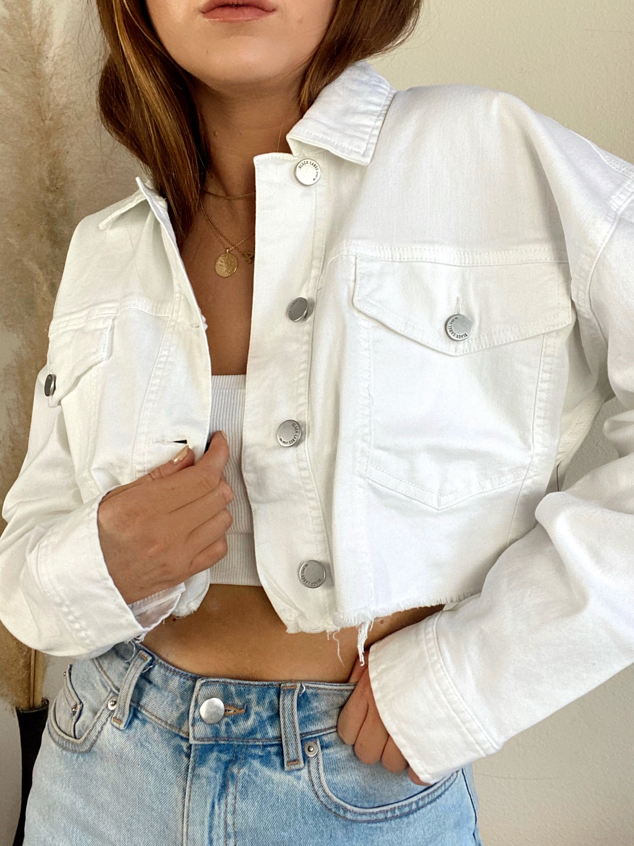 Castaway Cropped White Denim Jacket