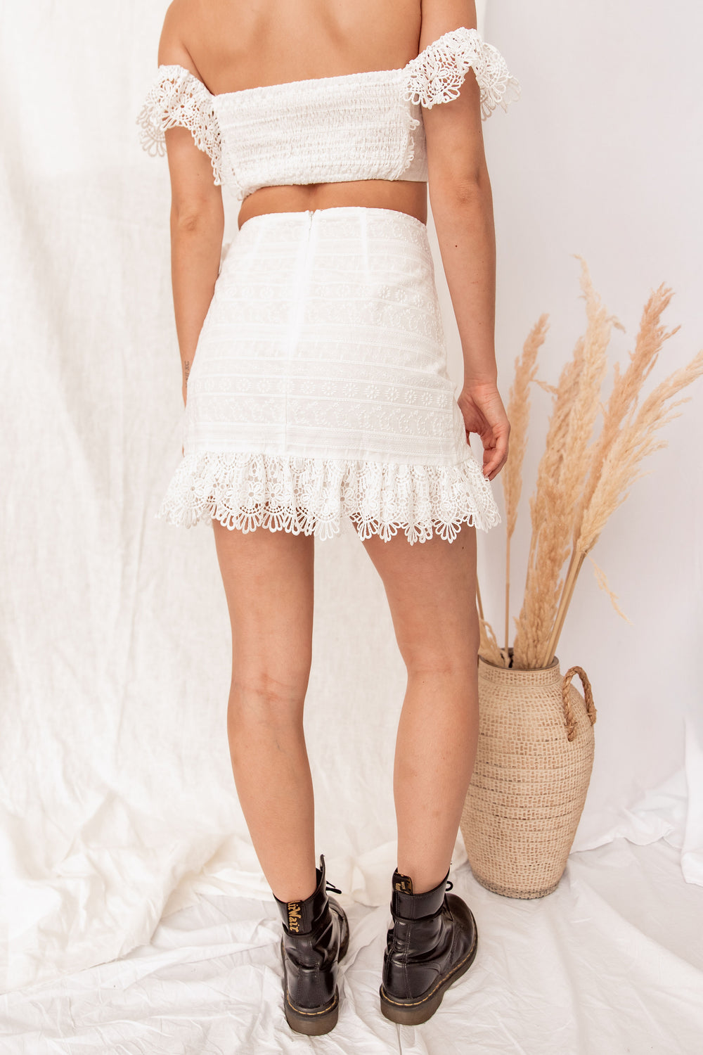 Casablanca White Crochet Crop Top