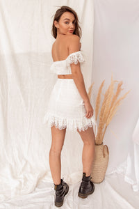 Casablanca White Crochet Skirt