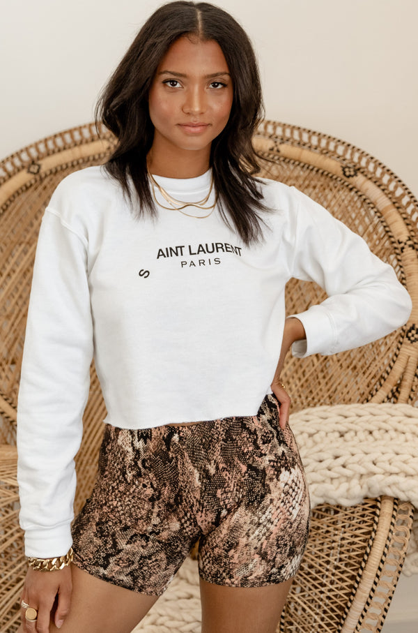 Ain't This White Cropped Sweatshirt