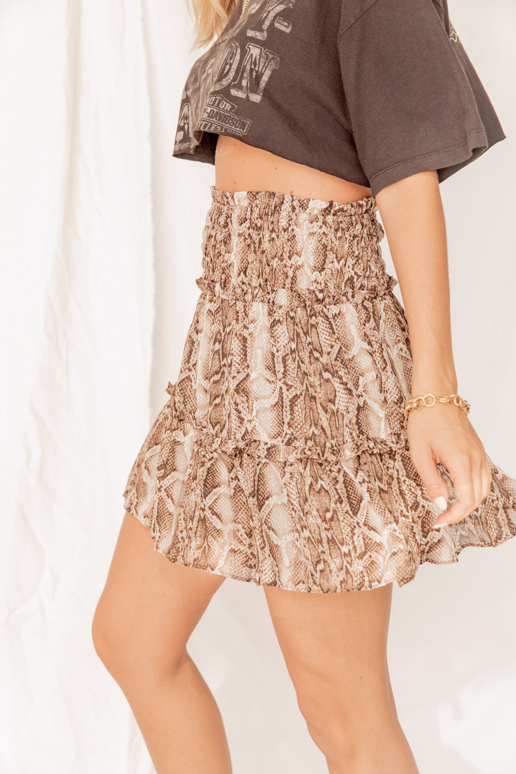 New York Groove Reptile Print Skirt