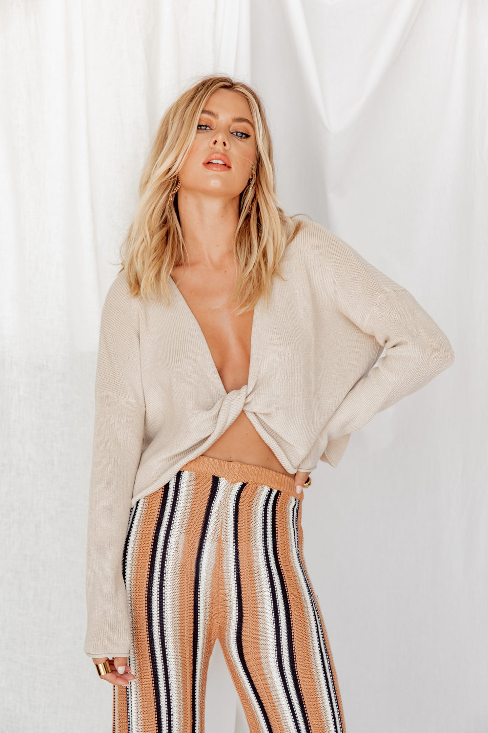 Catch A Feeling Front Twist Sweater