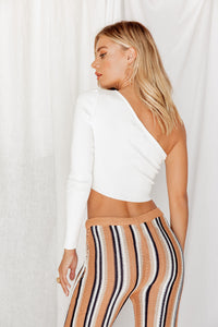 Make Me Wonder One Shoulder White Crop Top