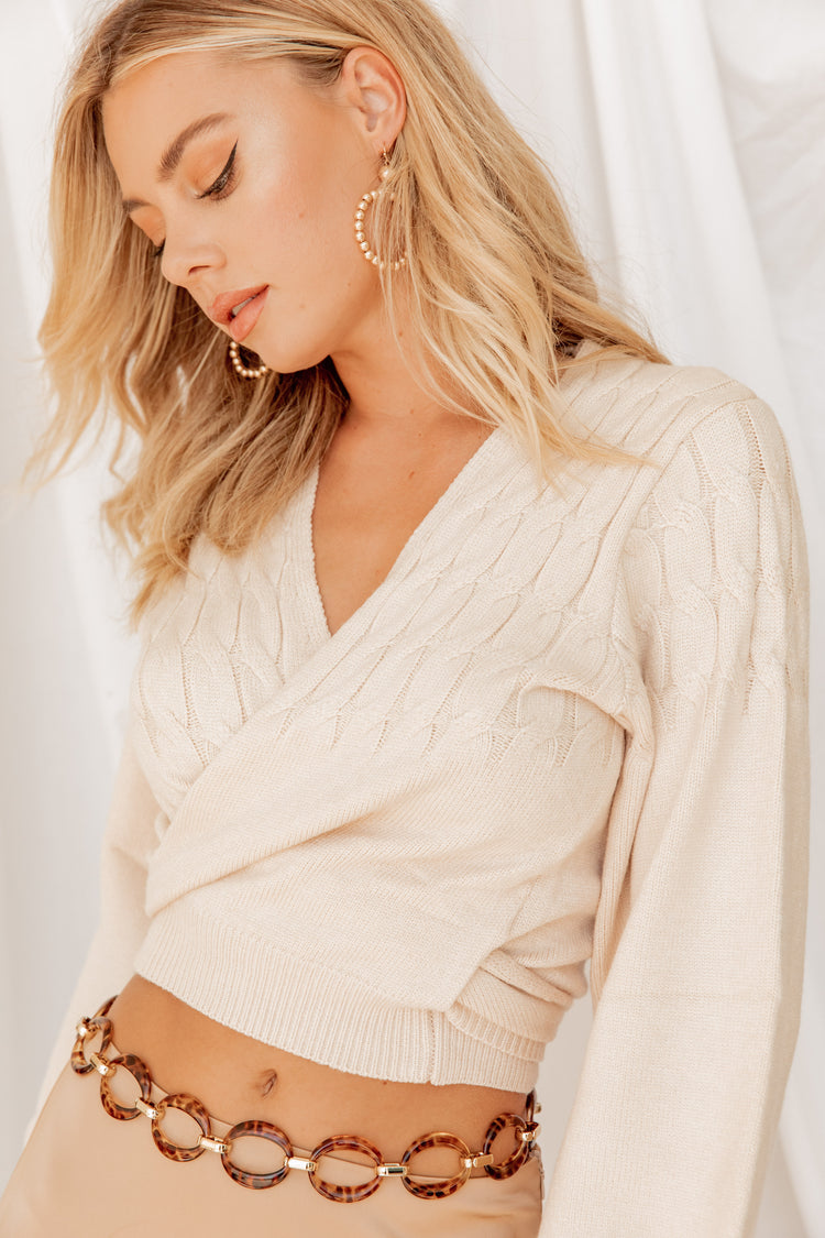 Thinking Out Loud Cream Wrap Sweater Top