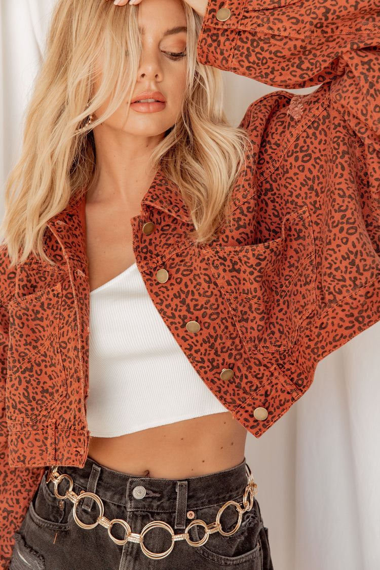 Perry Leopard Denim Jacket
