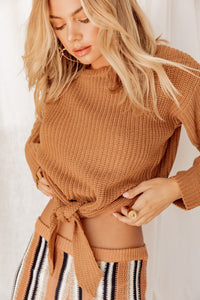 Autumn In New York Tie Knit Sweater