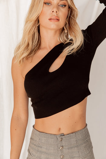 Make Me Wonder One Shoulder Black Crop Top