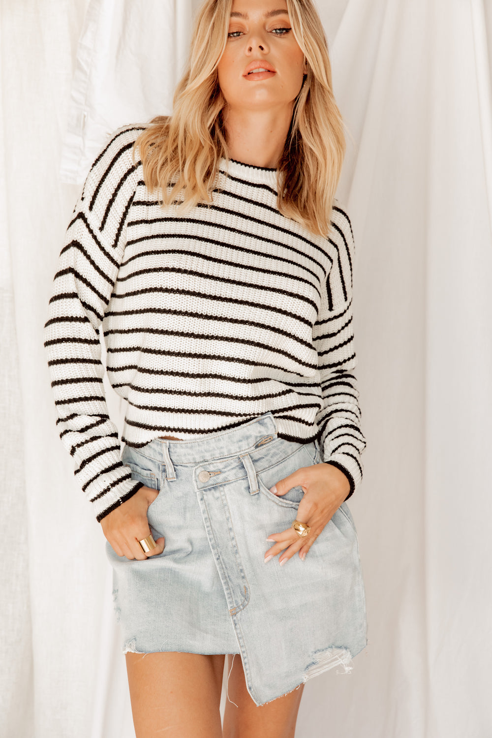 Ashton Crew Neck Striped Sweater