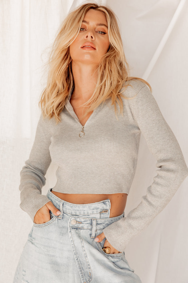 Catch My Breath Grey Ribbed Sweater
