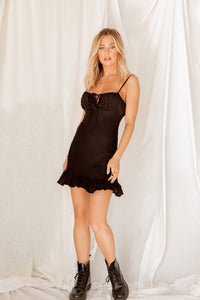 Walk Me Home Black Mini Dress