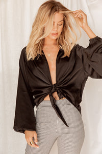 Summer Sand Bar Black Wrap Top