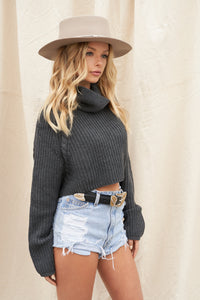 No Chill Charcoal Crop Sweater