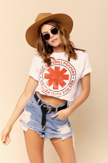 Distressed Red Hot Chili Peppers Crop Tee
