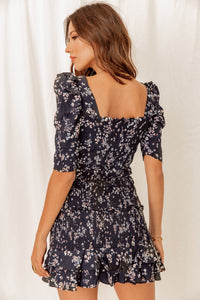 Flirt With Me Smocked Floral Print Dress