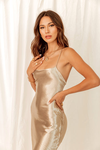Champagne Nights Silk Dress