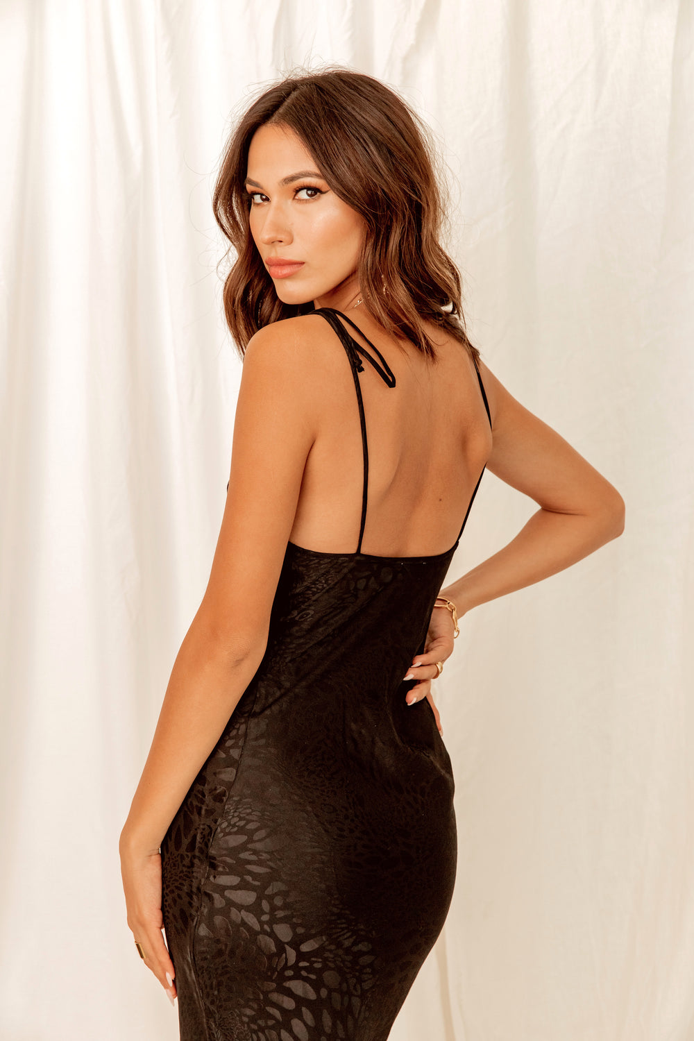 Back In Black Leopard Slip Dress