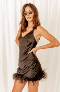 City Life Black Feather Slip Dress