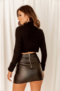 If I Ain't Got You Black Turtle Neck Crop Sweater