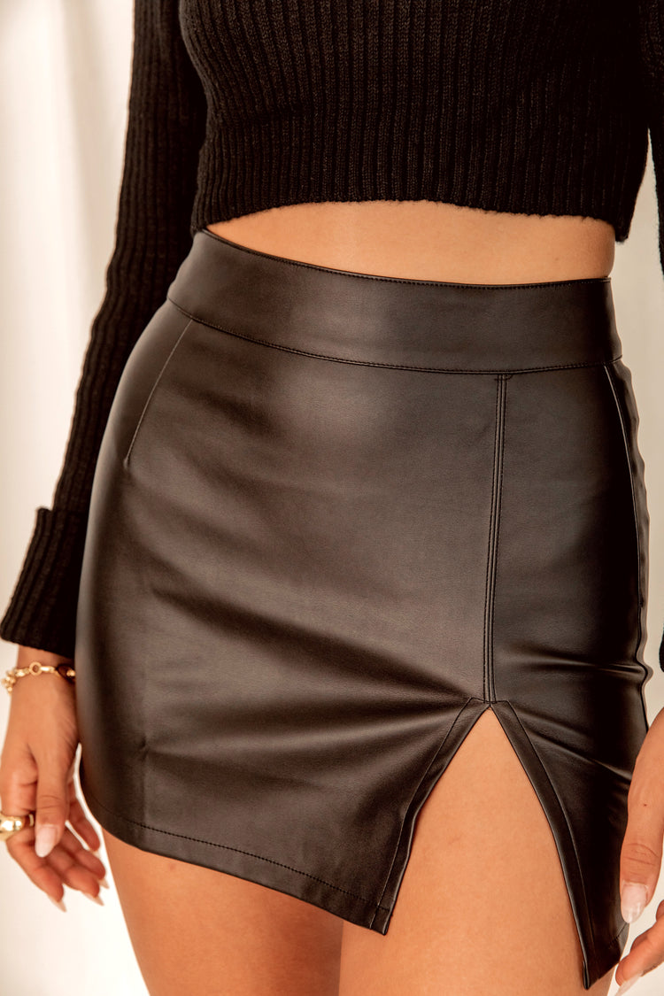Smoke Show Vegan Leather Mini Skirt
