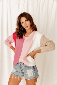 Head Over Heels Pink V-Neck Sweater