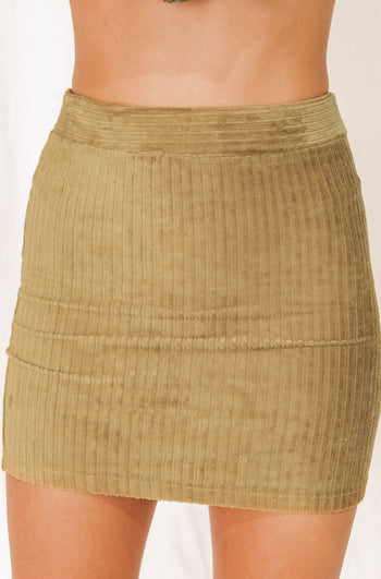 England Escape Olive Ribbed Mini Skirt