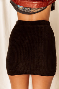 England Escape Black Ribbed Mini Skirt