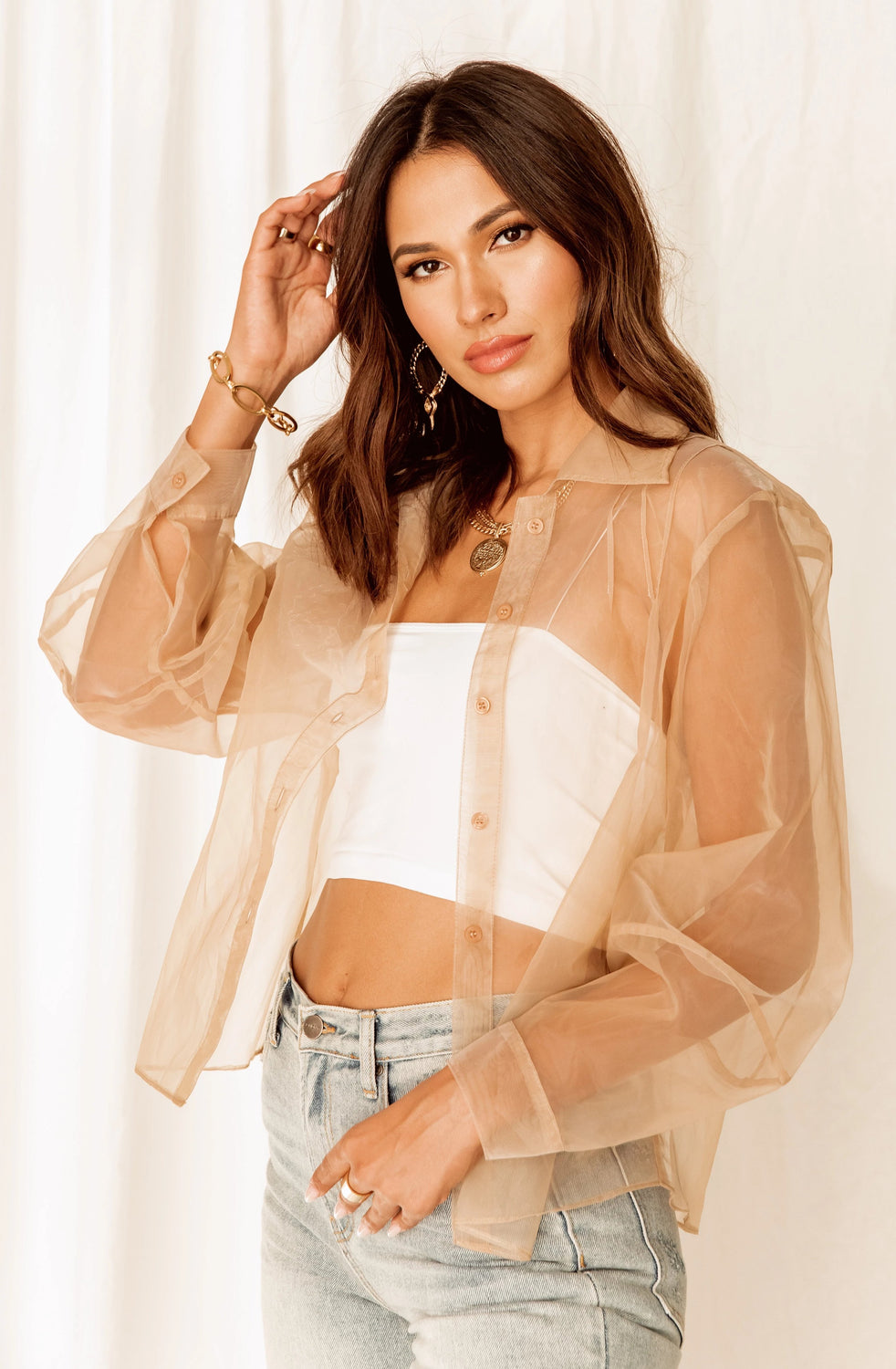 Carrie Nude Organza Top