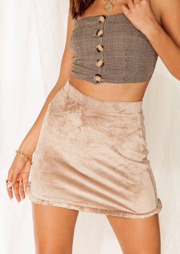 Count Me In Stone Velvet Mini Skirt