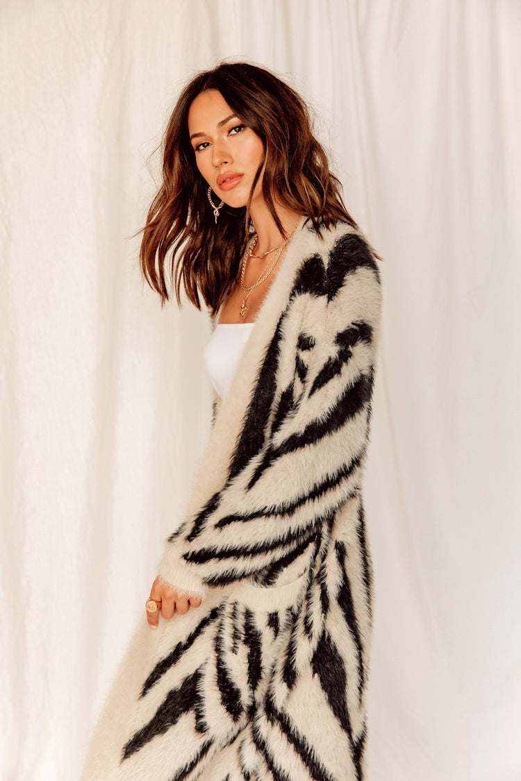 NYC Honey Zebra Fuzzy Cardigan