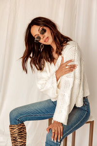 Together At Last Ivory Cropped Sweater