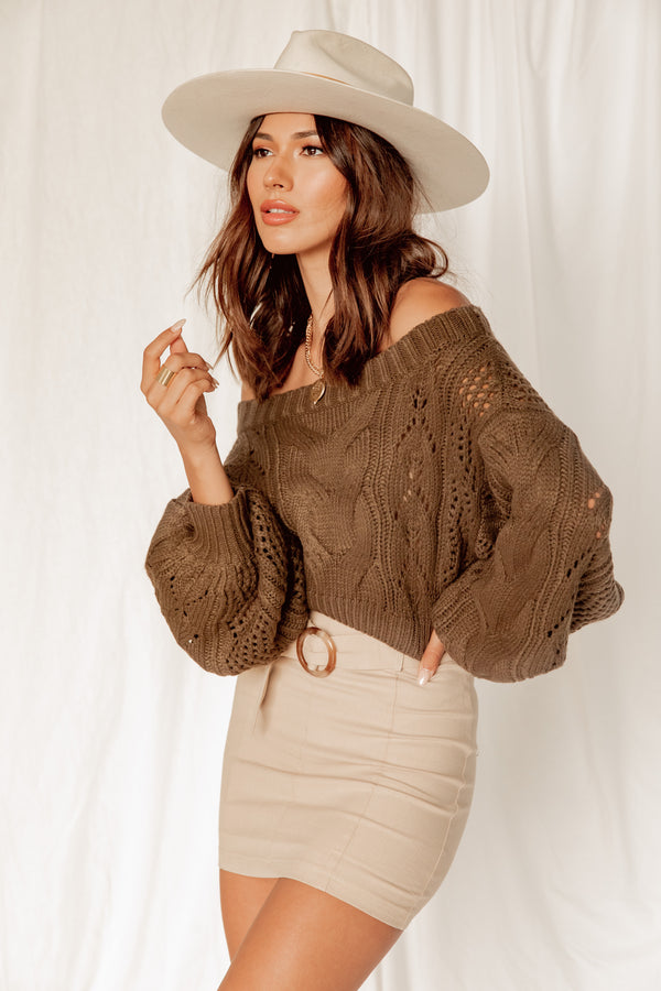 Hunter Olive Crochet Cropped Sweater