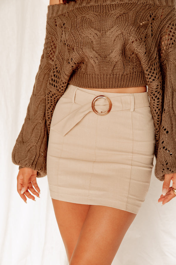 Can't Pretend Khaki Mini Skirt